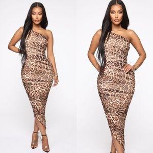 Ruched Leopard Dress